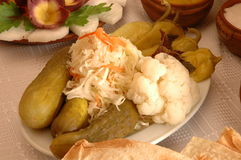 Armenian pickles. Pickled vegetables on the khash table Stock Photography