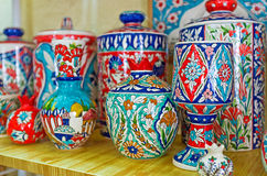 The Armenian pottery. JERUSALEM, ISRAEL - FEBRUARY 16, 2016:  The colorful pottery in traditional armenian style in the souvenir shop of Armenian Quarter of the Royalty Free Stock Photos