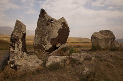 Armenian Stonehenge of Zorats Karer, Armenia. Zorats Karer (also called Karahunj or Carahunge) is an archaeological site with ancient observatory, known as stock photo
