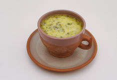 Armenian yogurt soup. Spas with herbs in pottery Stock Image