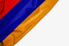 Armenien flagga av tyg med copyspace f?r din text p? vit bakgrund royaltyfri illustrationer