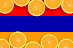 Armenien flagga i citrusfruktskivahorisontalram arkivfoton