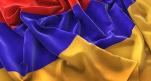 Armenien-Flagge gekräuselter schön wellenartig bewegender Makronahaufnahme-Schuss Stockfoto