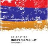 Armenien Grungeflagga med självständighetsdagen 21st september Royaltyfri Illustrationer