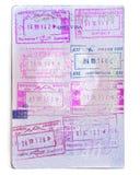 Armenien passstämplar Den armeniska resedokumentcloseupen, isolerade royaltyfri bild