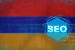 Armenien seo (sökandemotoroptimization) Begrepp för sökandemotoroptimisation Royaltyfria Bilder