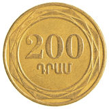 200 armenische Dollar Münze Stockfotos