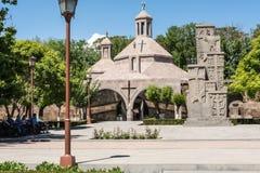 Armenisches mittelalterliches khachkar Stockfotos