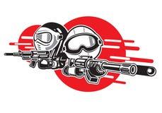 Armes à feu d'airsoft de jeu de garçon et de fille. illustration de vecteur