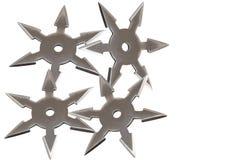 Armes secrètes de Ninja d'isolement sur le fond blanc Image stock