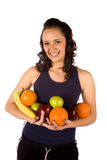 Armful of fruit smiling Stock Photo