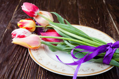Armful of tulips on a plate Royalty Free Stock Photography