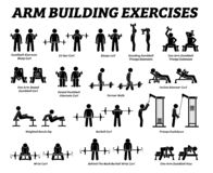 Armgebäudeübungen und Muskelgebäudestockzahl Piktogramme lizenzfreies stockbild