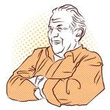 Armi attraversate nonno Schizzo disegnato a mano di vettore Immagine Stock