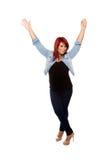 Armi d'ondeggiamento della donna felice nell'aria Fotografia Stock Libera da Diritti