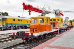 Armi 220 del carrello Museo di Novosibirsk di attrezzatura ferroviaria a novembre Fotografia Stock Libera da Diritti