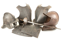 Armi ed armatura dell'oggetto d'antiquariato Fotografia Stock Libera da Diritti