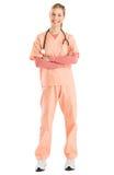 Armi femminili di With Stethoscope Standing dell'infermiere attraversate Immagine Stock