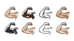 Armi i muscoli, la forte icona della mano o il simbolo Palestra, sport, forma fisica, concetto di salute Illustrazione di vettore Immagine Stock