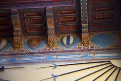 Armi nel ` Albertis di Castello d una residenza storica in Genoa Italy Attualmente alloggia il museo delle culture del mondo, Fotografia Stock Libera da Diritti