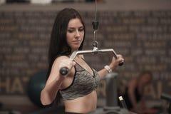 Armi sportive attive di allenamento della donna nella palestra del club di forma fisica Fotografia Stock Libera da Diritti
