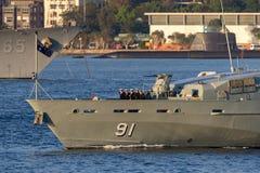 Armidale-klassepatrouillenboot HMAS Bundaberg ACPB 91 der k?niglichen australischen Marine in Sydney Harbor lizenzfreies stockfoto