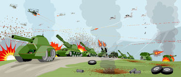 Armies on battlefield. Vector illustration of a armies on battlefield Royalty Free Stock Photo