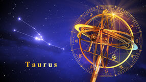 Armillary Bereich und Konstellation Taurus Over Blue Background Stockbild