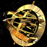 Armillary sphere. Digital visualization of an armillary sphere Stock Photos