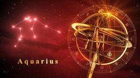 Armillary Sphere And Constellation Aquarius Over Red Background Stock Images