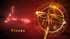 Armillary Sphere And Constellation Pisces Over Red Background Royalty Free Stock Photos