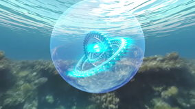 Armillary sphere station under the sea stock footage
