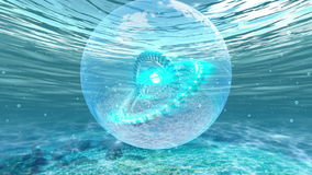 Armillary sphere station under the water stock footage