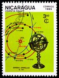 Armillary sphere and 1910 trajectory, Appearance of Halley`s Comet serie, circa 1985. MOSCOW, RUSSIA - FEBRUARY 9, 2019: A stamp printed in Nicaragua shows royalty free stock images