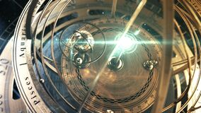 Armillary Sphere And Zodiac Astrology Signs On Background Of Starry Sky. 4K.