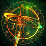 Armillary Sphere With Zodiac Symbols Over Green Background. Stock Image