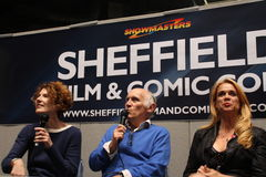 Armin Shirmerman, Kitty Swink and Chase Masterson at the Sheffield Film and Comic Con 2014 Stock Photo
