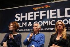 Armin Shirmerman, Kitty Swink y caza Masterson en Sheffield Film y la estafa cómica 2014 Foto de archivo