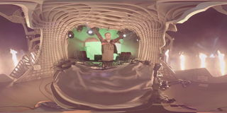 Armin Van Buuren live on stage. Video 360 for VR 4 k. Armin Van Buuren DJ playing on the stage. Fireworks and crowd on the festival. Summer Open Air. Video 360 stock video footage