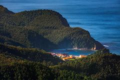 Armintza village in the Basque Country from Jata. Mountain stock photos