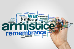 Armistice word cloud. Concept on grey background Royalty Free Stock Photo