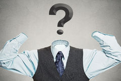 Armless man with question mark instead of head. Desperate businessman with question mark instead of head has no hands tools to solve multiple financial issues Stock Photography