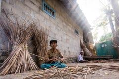 Armodvillagegkvinnan samlar till salu gräs arkivbild