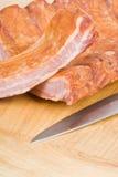 Armoire de nervure de porc fumée Image libre de droits