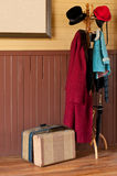 Armoire et bagage de couche de station de train Photo stock