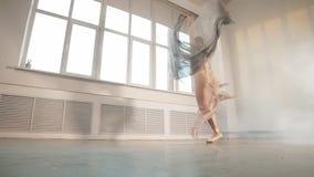 Armonía perfecta que fascina nuestras mentes y ojos, bailarín de ballet en un salto, cámara lenta almacen de video