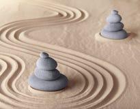 Armonia e serenità del giardino di meditazione di zen Fotografie Stock Libere da Diritti