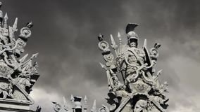 Armor  ancient warriors. Backdrop of a dramatic sky,  symbol of war stock video