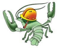 Armor arthropod cancer cartoon humor. Construction helmet mustache Royalty Free Stock Photos