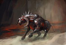 Armor knight bull. Melting armor knight bull in flames Royalty Free Stock Images